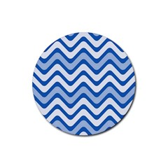 Background Of Blue Wavy Lines Rubber Coaster (Round)
