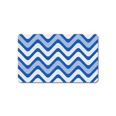 Background Of Blue Wavy Lines Magnet (name Card)