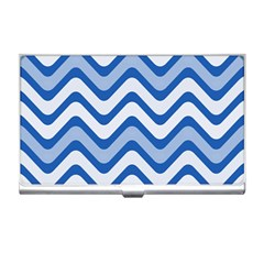 Background Of Blue Wavy Lines Business Card Holders