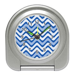 Background Of Blue Wavy Lines Travel Alarm Clocks