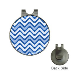 Background Of Blue Wavy Lines Hat Clips With Golf Markers