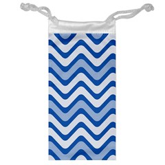 Background Of Blue Wavy Lines Jewelry Bag