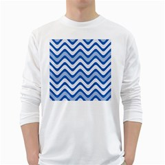 Background Of Blue Wavy Lines White Long Sleeve T-Shirts