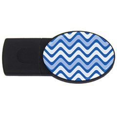 Background Of Blue Wavy Lines USB Flash Drive Oval (4 GB)