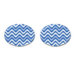 Background Of Blue Wavy Lines Cufflinks (oval)