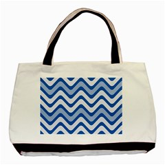 Background Of Blue Wavy Lines Basic Tote Bag