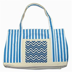 Background Of Blue Wavy Lines Striped Blue Tote Bag