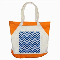 Background Of Blue Wavy Lines Accent Tote Bag