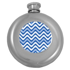 Background Of Blue Wavy Lines Round Hip Flask (5 oz)