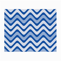 Background Of Blue Wavy Lines Small Glasses Cloth (2 Side)
