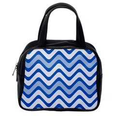 Background Of Blue Wavy Lines Classic Handbags (one Side)