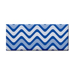 Background Of Blue Wavy Lines Cosmetic Storage Cases