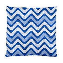 Background Of Blue Wavy Lines Standard Cushion Case (two Sides)
