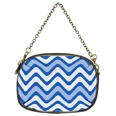 Background Of Blue Wavy Lines Chain Purses (two Sides)