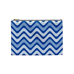 Background Of Blue Wavy Lines Cosmetic Bag (Medium)