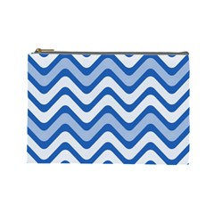 Background Of Blue Wavy Lines Cosmetic Bag (large)