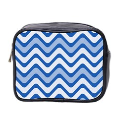 Background Of Blue Wavy Lines Mini Toiletries Bag 2-Side