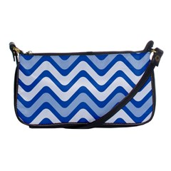 Background Of Blue Wavy Lines Shoulder Clutch Bags