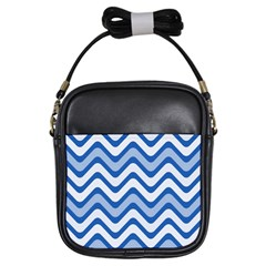 Background Of Blue Wavy Lines Girls Sling Bags
