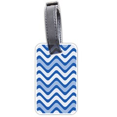 Background Of Blue Wavy Lines Luggage Tags (one Side)