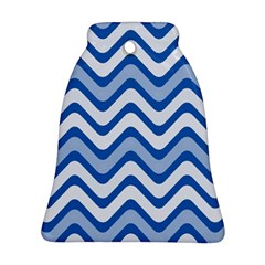 Background Of Blue Wavy Lines Ornament (bell)