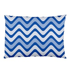 Background Of Blue Wavy Lines Pillow Case (Two Sides)