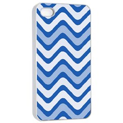 Background Of Blue Wavy Lines Apple Iphone 4/4s Seamless Case (white)