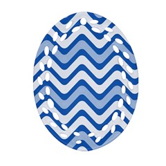 Background Of Blue Wavy Lines Ornament (Oval Filigree)