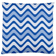 Background Of Blue Wavy Lines Large Cushion Case (One Side)