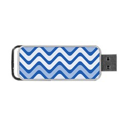 Background Of Blue Wavy Lines Portable USB Flash (One Side)