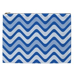 Background Of Blue Wavy Lines Cosmetic Bag (XXL)