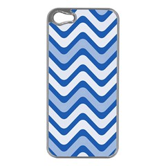 Background Of Blue Wavy Lines Apple iPhone 5 Case (Silver)