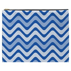 Background Of Blue Wavy Lines Cosmetic Bag (XXXL)