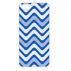 Background Of Blue Wavy Lines Apple iPhone 5 Seamless Case (White)