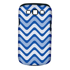 Background Of Blue Wavy Lines Samsung Galaxy S III Classic Hardshell Case (PC+Silicone)