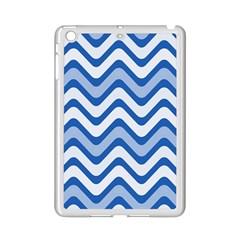 Background Of Blue Wavy Lines iPad Mini 2 Enamel Coated Cases
