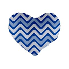 Background Of Blue Wavy Lines Standard 16  Premium Heart Shape Cushions