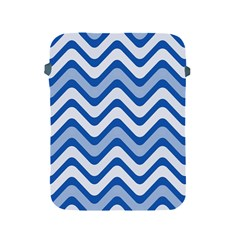 Background Of Blue Wavy Lines Apple iPad 2/3/4 Protective Soft Cases