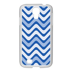 Background Of Blue Wavy Lines Samsung GALAXY S4 I9500/ I9505 Case (White)