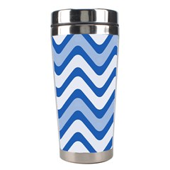 Background Of Blue Wavy Lines Stainless Steel Travel Tumblers