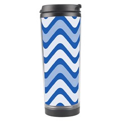 Background Of Blue Wavy Lines Travel Tumbler