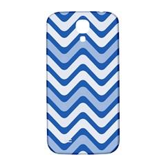 Background Of Blue Wavy Lines Samsung Galaxy S4 I9500/I9505  Hardshell Back Case