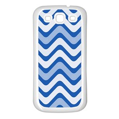 Background Of Blue Wavy Lines Samsung Galaxy S3 Back Case (White)