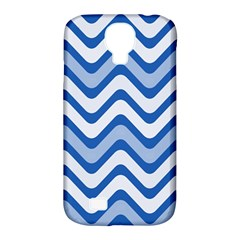Background Of Blue Wavy Lines Samsung Galaxy S4 Classic Hardshell Case (pc+silicone)