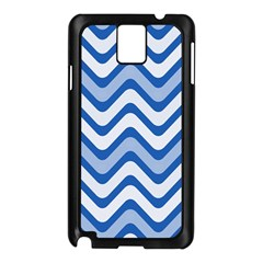 Background Of Blue Wavy Lines Samsung Galaxy Note 3 N9005 Case (Black)