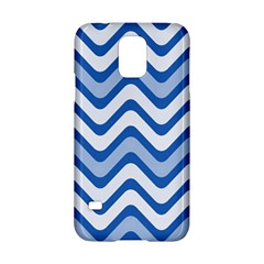 Background Of Blue Wavy Lines Samsung Galaxy S5 Hardshell Case