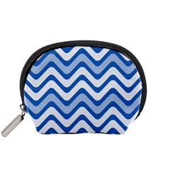 Background Of Blue Wavy Lines Accessory Pouches (Small)