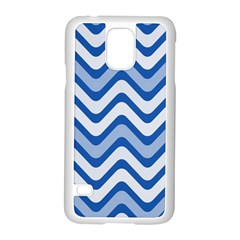 Background Of Blue Wavy Lines Samsung Galaxy S5 Case (White)