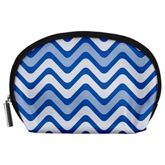 Background Of Blue Wavy Lines Accessory Pouches (large)