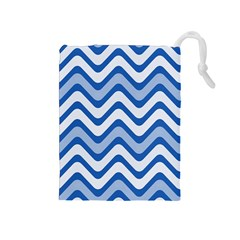 Background Of Blue Wavy Lines Drawstring Pouches (medium)